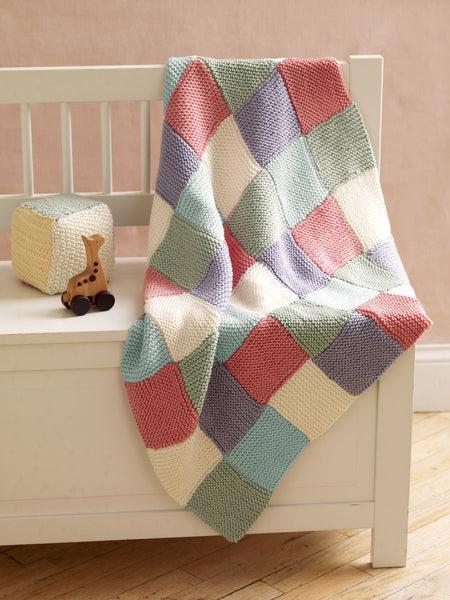 Loom Knit Patchwork Garter Baby Throw Pattern