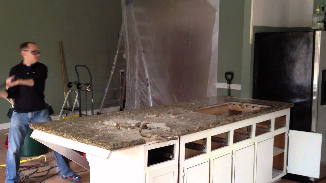 How to Remove a Granite Countertop - YouTube