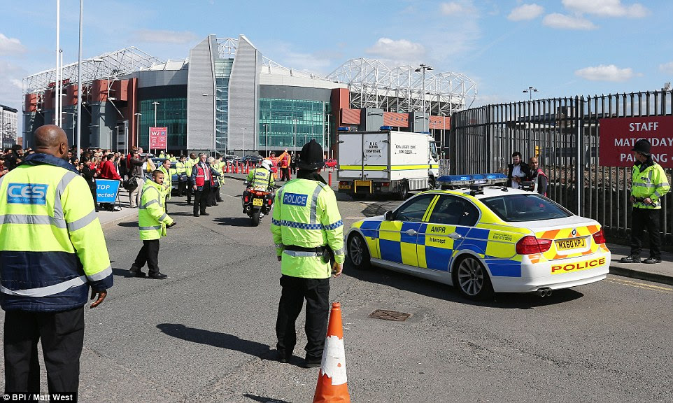 A bomb disposal vehicle arrives at Old Trafford during the evacuation of the 76,000-seater stadium ahead of the Premier League final-day clash between Manchester United and Bournemouth this afternoon following the discovery of an 'incredibly lifelike explosive device'