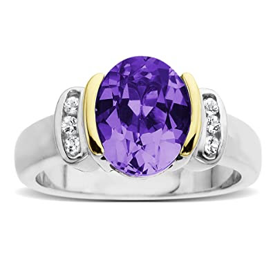 White Topaz and Oval Amethyst Ring