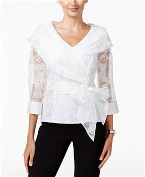alex evenings belted portrait collar wrap blouse tops