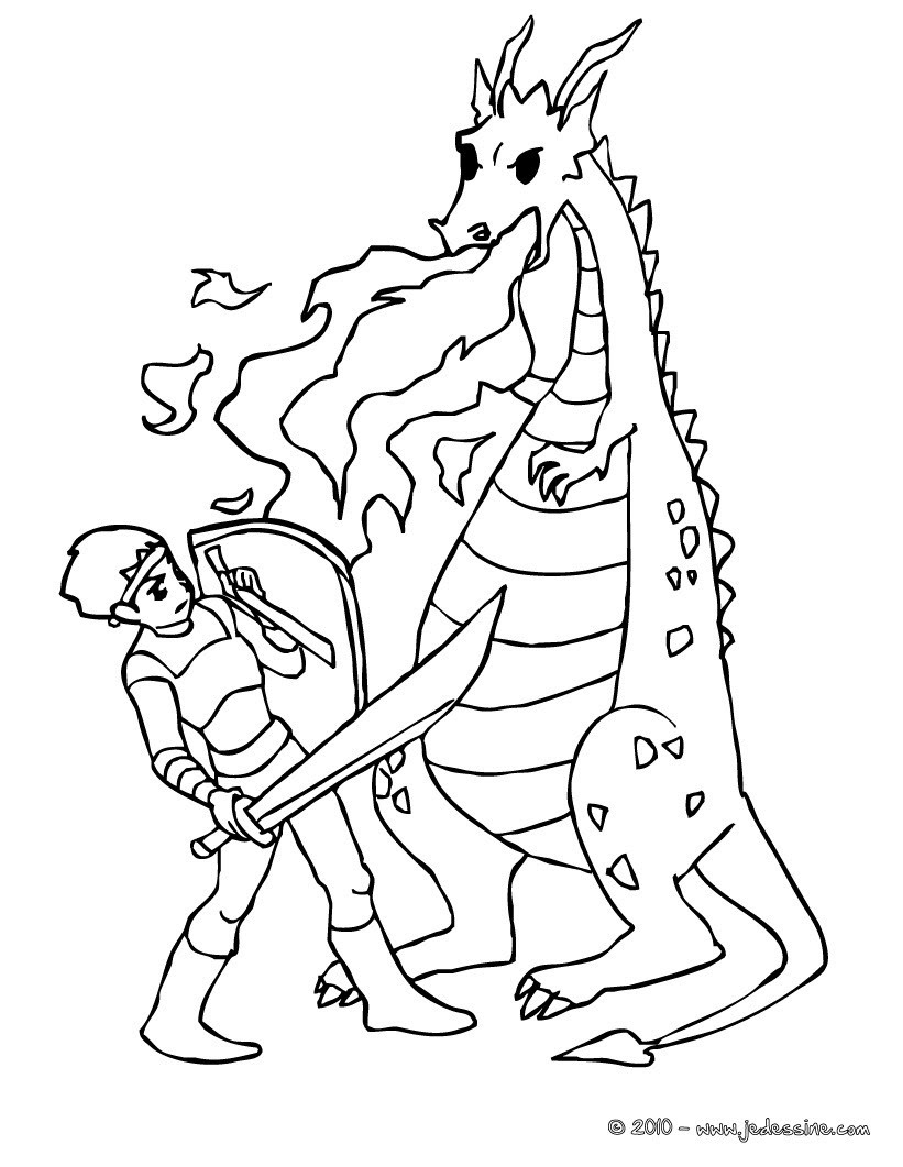 Un chevalier qui bat les flammes du dragon Coloriage Coloriage GRATUIT Coloriage PERSONNAGE