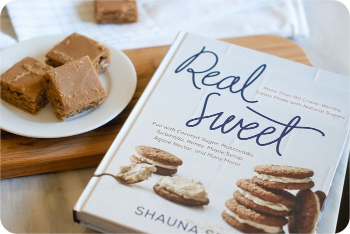 Iced Muscovado Caramel-Nut Blondies from the book Real Sweet ... treats made with natural sugars!