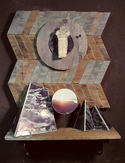 Altar To The Space Man 16 x 22 x 7 Found wood, concrete, acrylic, house paint, magazines, metal, pencil, copy transfer 2011