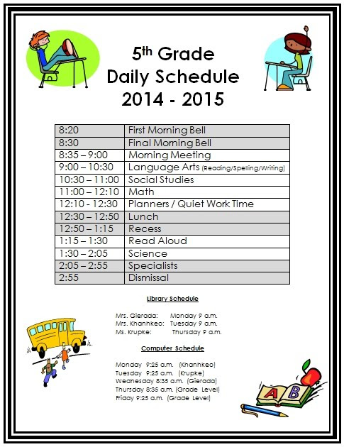Daily Schedule - WB STEM: 5th Grade
