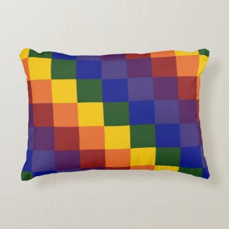 Checkered Rainbow Accent Pillow