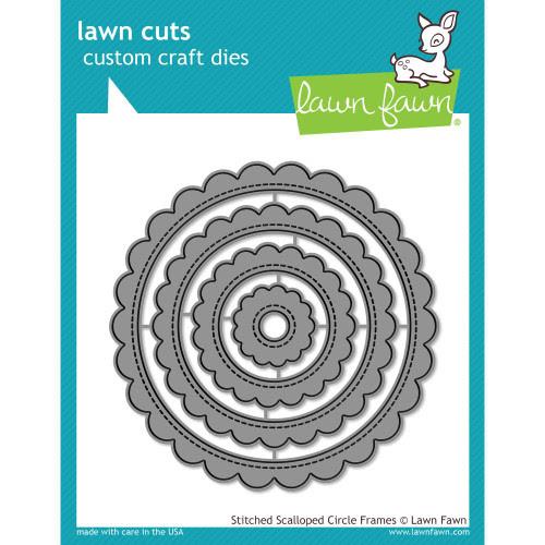 Lawn Fawn Stitched Scalloped Circle Frames Lawn Cut (LF1718)