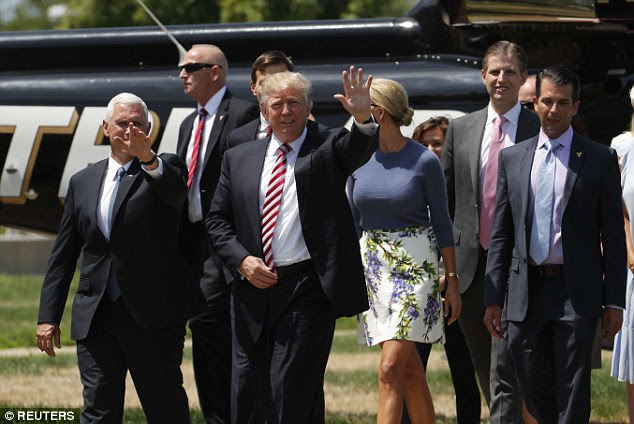 Baldasaro's comment could cause headaches for Trump, shown arriving Wednesday in Cleveland,but the campaign says he doesn't support what the U.S. Marine veteran said