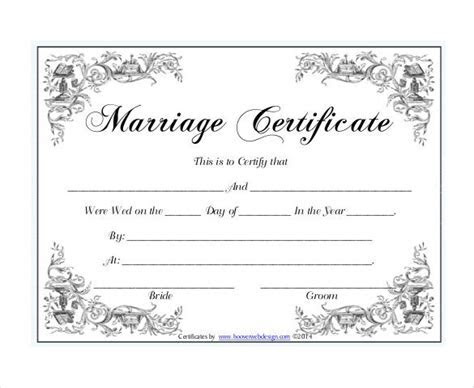 10  Marriage Certificate Templates   Free Printable Word