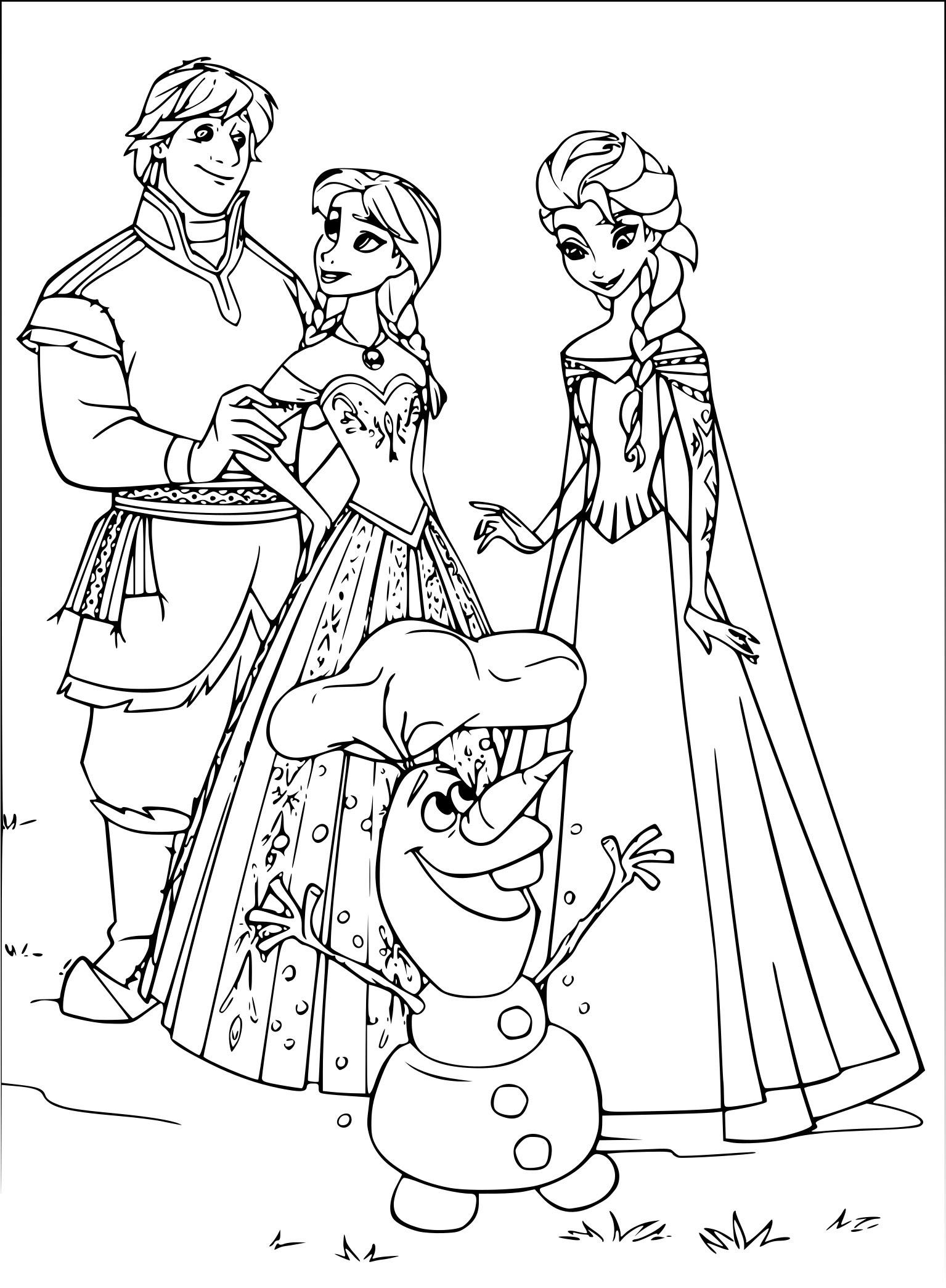 Coloriage Olaf Anna Et Elsa à Imprimer