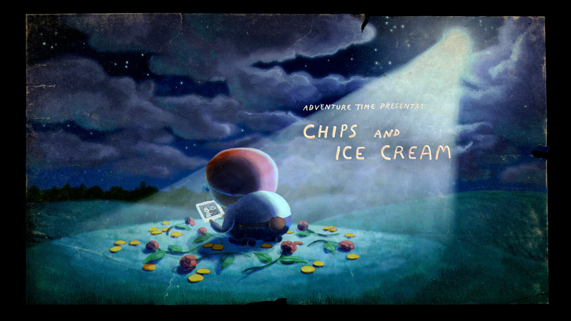 "Adventure Time ""Chips and Ice Cream"" - title card designed by Seo Kim and painted by Nick Jennings"