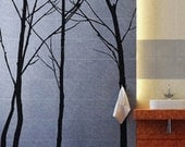 Vinyl Wall Art Decal -- Forest with 6 complimentary forest birds