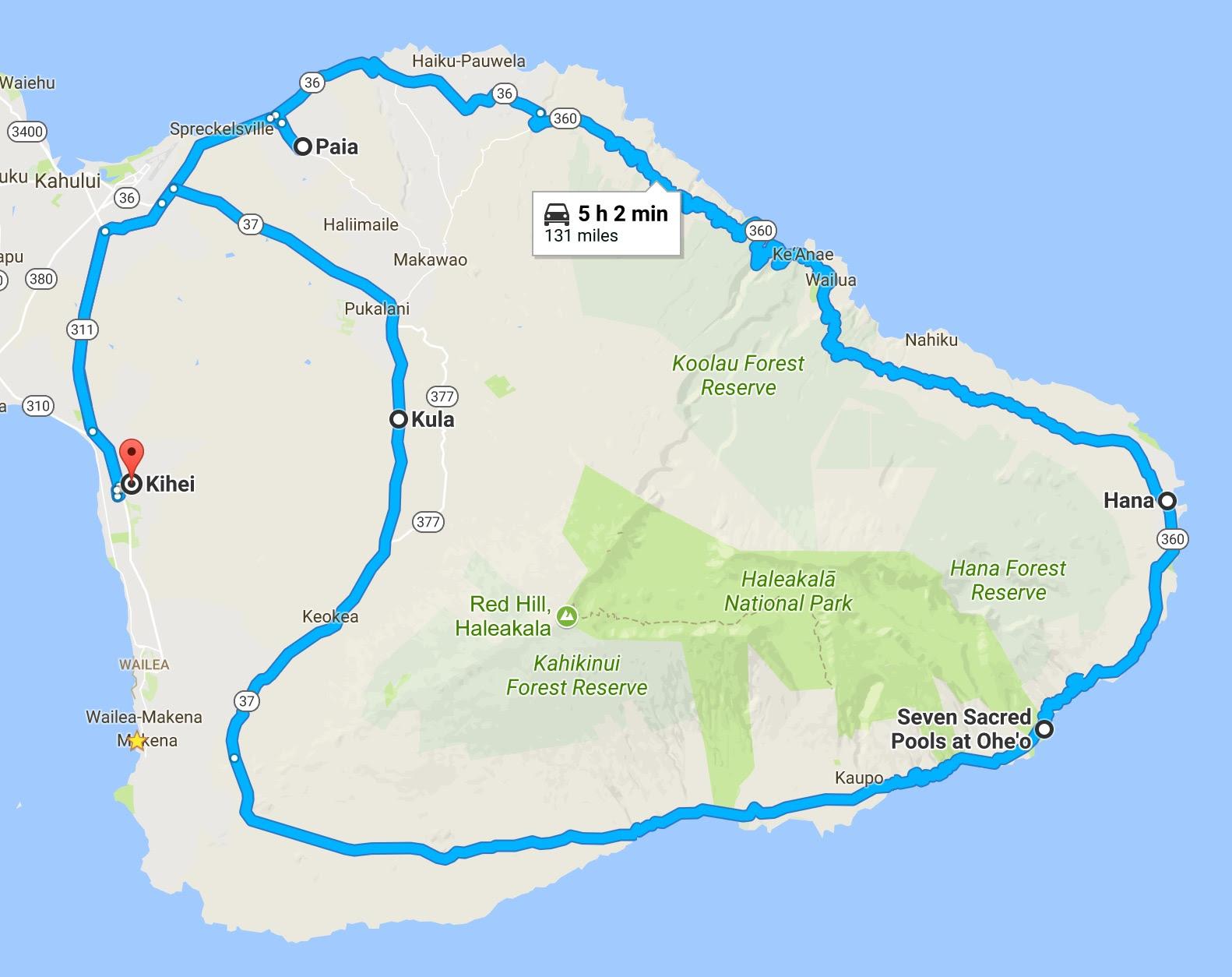 Road to Hana full loop (map)