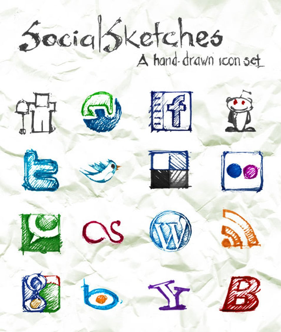 Social Sketches: Exclusive Free Hand-Sketched Icon Set