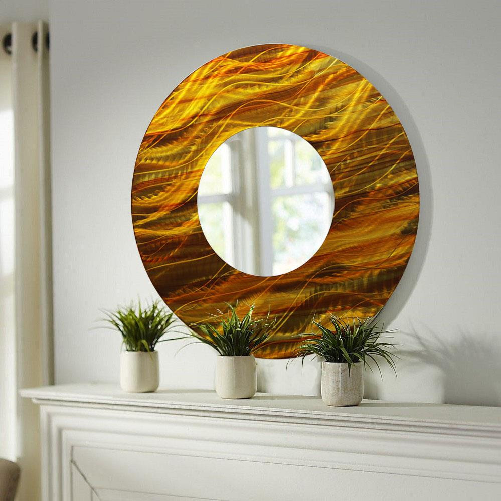 Gold/Amber Abstract Large Round Metal Wall Art Mirror ...