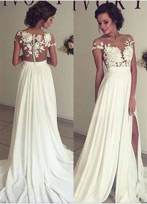 Sexy Slit Wedding Dress,Lace Bridal Dress,Sexy Open Back