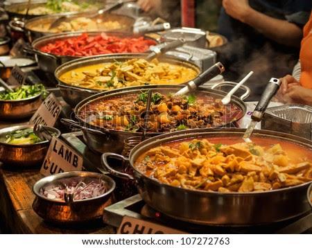 Oriental food - Indian takeaway at a London's market