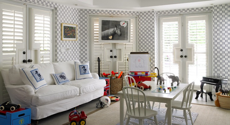Hillary Littlejohn Scurtis: Fantastic playroom with white & blue geometric pattern wallpaper and  plantation ...