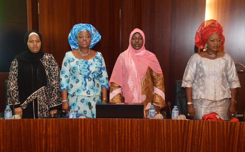 L-R; Wife of Chief of Air Staff; Mrs. Hafsat Sadique Abubakar; Wife of Chief of Naval Staff; Theresa Ekwe Ibas; Wife of Chief of Army Staff; Mrs. Umma Kalsum Tukur Buratai and Wife of the Chief of Defence Staff Mrs. Omobolanle Olonisakin, during the decoration Ceremony of the New Service Chiefs, at the Presidential Villa Abuja yesterday
