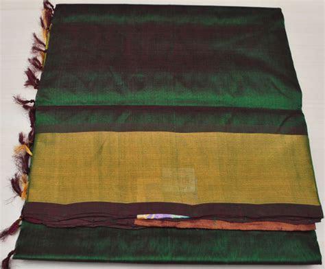 mangalagiri Plain Silk sarees mrr 00076   Bottle Green