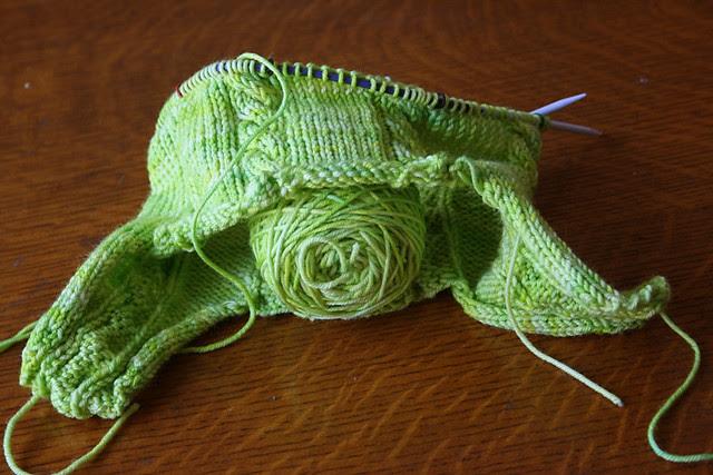 Lemongrass cabled earflap hat