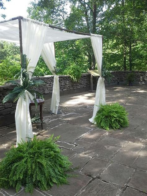 This chuppah is made from PVC pipe, covered with textured