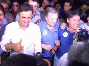 Aécio diz que, se eleito, vai investir na segurança e reforçar o Bolsa Família (Foto: Reprodução/TV Verdes Mares)