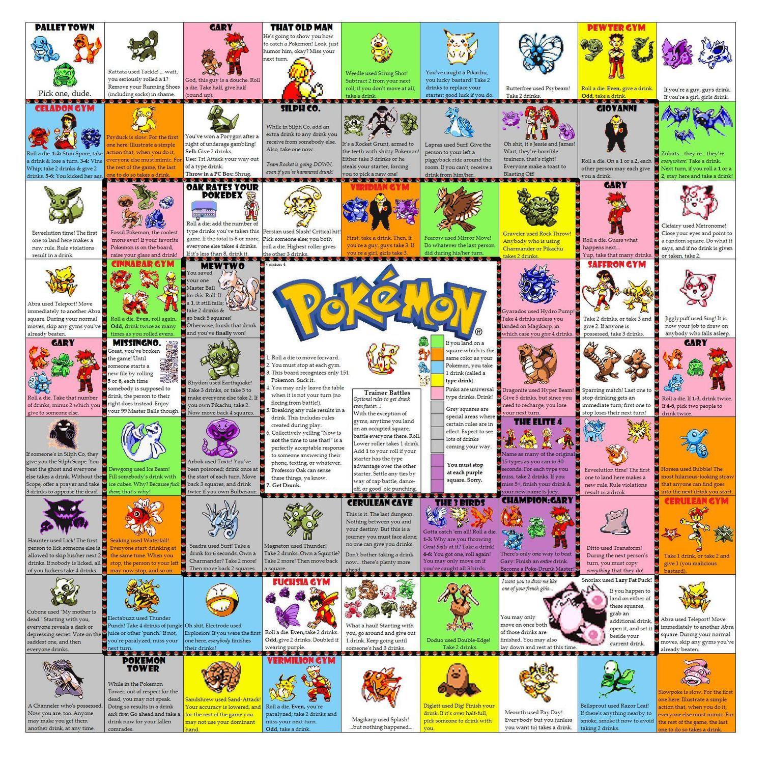 Pokemon Drinking Board Game Printable Images  Pokemon Images