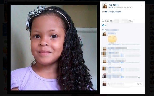 Gabrielly Gomes, de 7 anos, desapareceu em janeiro desse ano. (Foto: Reprodução/Facebook