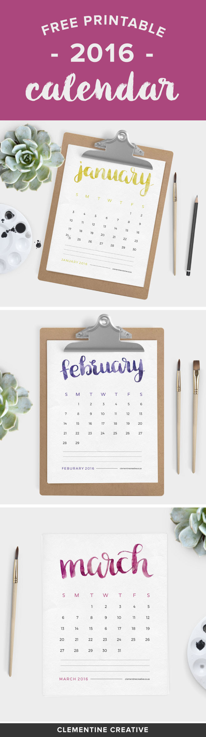 This free printable 2016 calendar will brighten up your desk area. Each month name is painted by hand with watercolour paint. Click here to download this calendar.