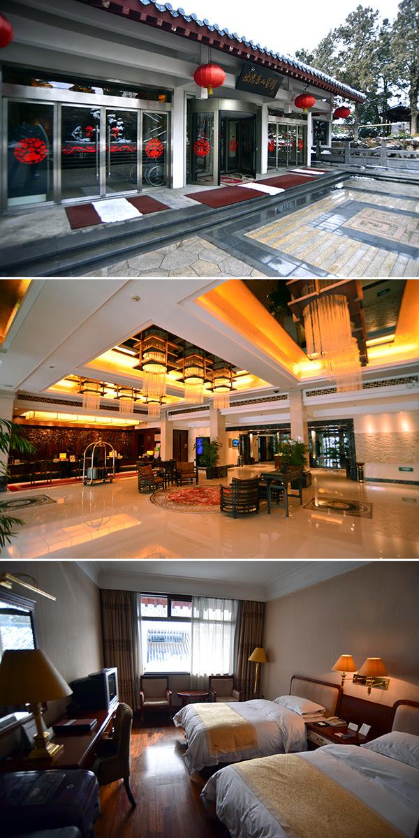 둥산빈관의 입구(상) 넓고 쾌적한 로비(중) 2인 스탠다드 객실의 내부(하).