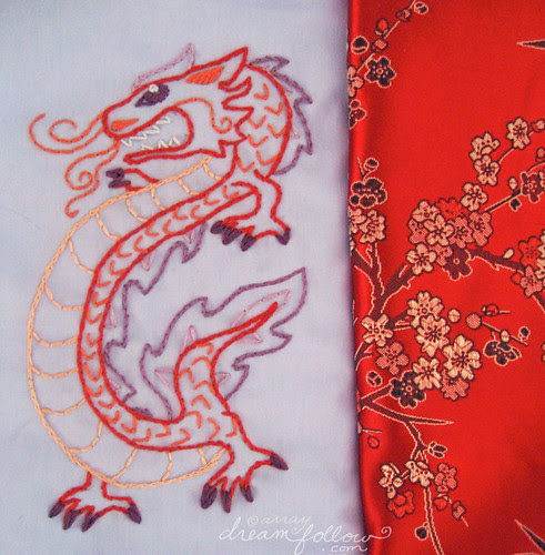 year of the dragon embroidery