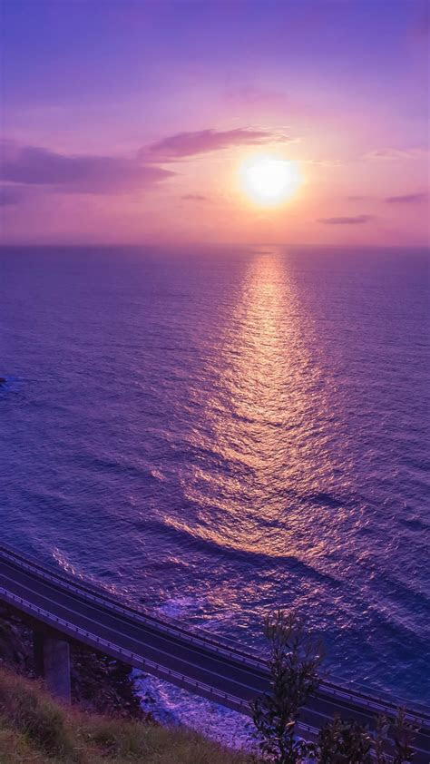 wallpaper sunset purple sky seascape reflection