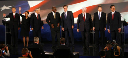 The 2012 Republican presidential candidates. (photo: Reuters)