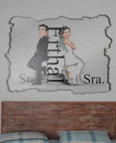 Caricatura, casal, noivos, corpo inteiro, Sr e Sra Smith, by ila fox