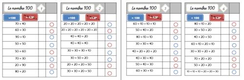 Cartes multichoix : le nombre 10 et le nombre 100