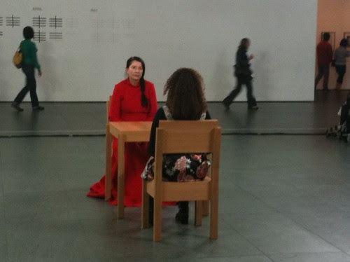 Abramovic and a participant, MoMa