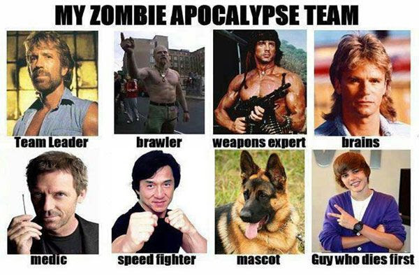 Chuck Norris, Rambo, MacGyver, Dr. House and Jackie Chan...with Justin Bieber as zombie bait. This is indeed the perfect Zombie Apocalypse Team...