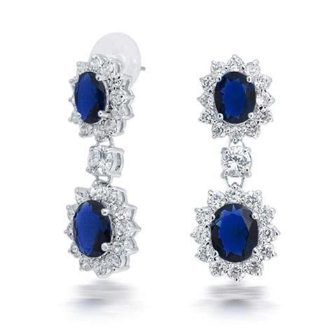 Simulated Sapphire CZ Bridal Necklace Earring Set Rhodium