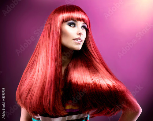 Healthy Straight Long Red Hair Fashion Beauty Model 48595739