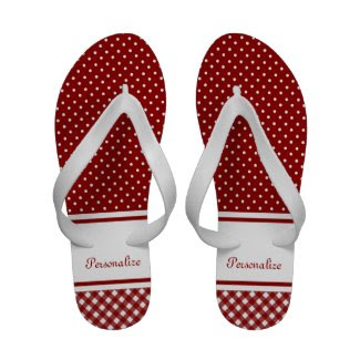 Red and White Gingham and Polka Dots Sandals