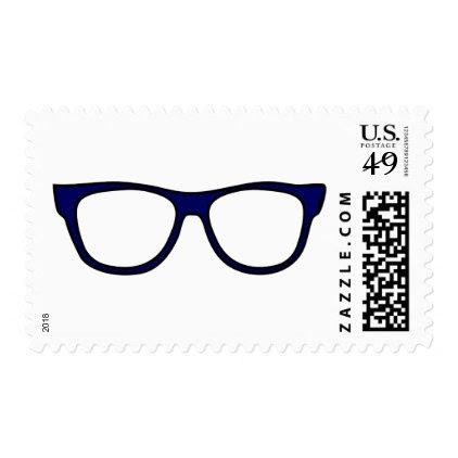 Fashion Eye Nerd Blue Geek Glasses Stamp