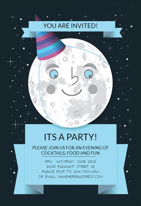 Full Moon   Printable Party Invitation Template (Free