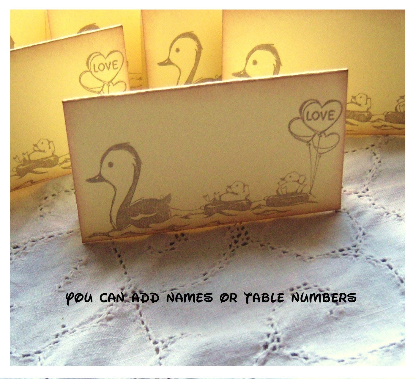 Duck Place Cards - Vintage Inspired Yellow - Hand Aged Stamped - Love