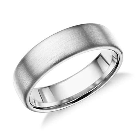 Matte Modern Comfort Fit Wedding Ring in 14k White Gold (6