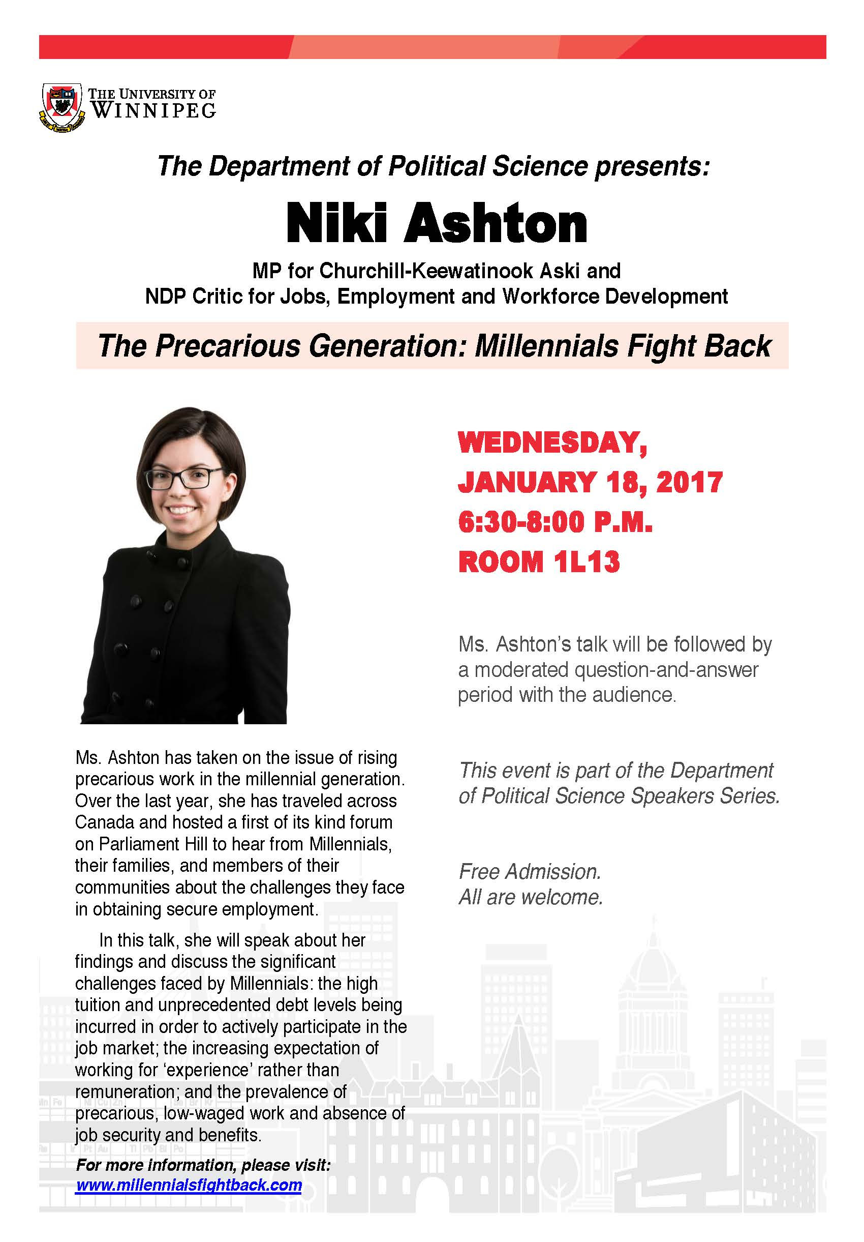 The Department Of Political Science Presents Niki Ashton The Precarious Generation Millennials Fight Back The Uwsa