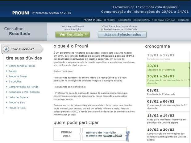 O resultado da primeira chamada do ProUni 2014 está disponível no site do programa Foto: Reprodução