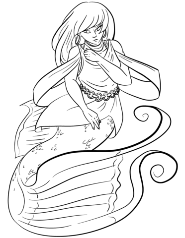 cartoon mermaid coloring page  free printable coloring pages