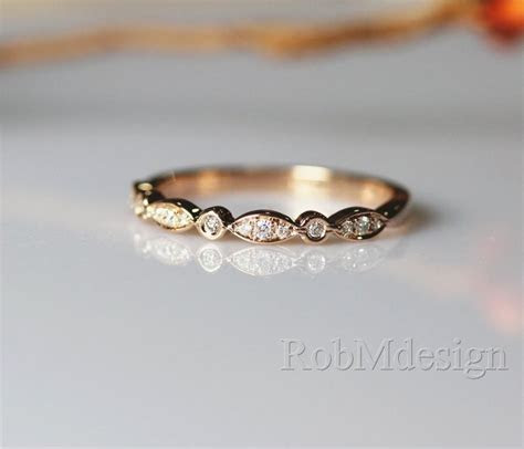 14K Rose Gold Band Half Eternity Diamond Wedding Band Art