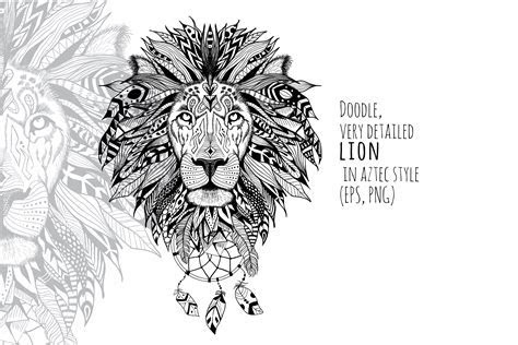 Textured lion in aztec style ~ Illustrations on Creative